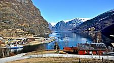 View of a dock and a fjord in Flam, Norway