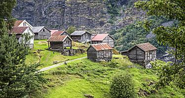 Historic wood homes in Flam, Norway
