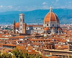 The Duomo Santa Maria Del Fiore towering over Florence, Italy