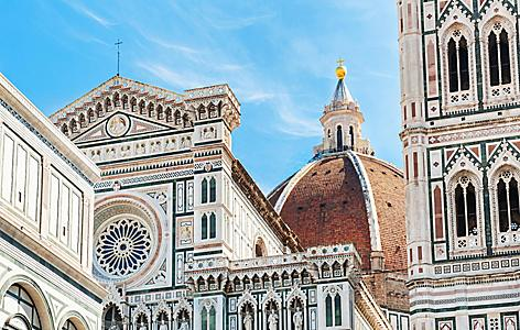 Close up of the Duomo Santa Maria Del Fiore toweing over Florence, Italy