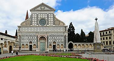 Frontal view of the Basilica of Santa Maria Novella in Florence, Italy