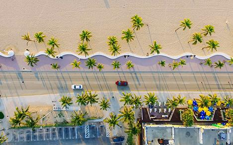 Bird's eye view of A1A and adjacent beach