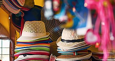 Tourist shop with hats and beachwear in Fort Lauderdale, Florida