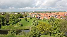 An aerial view of Fredericia, Denmark