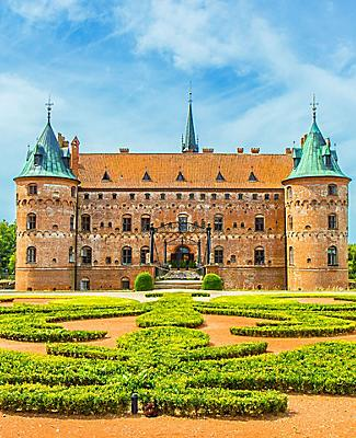 The front of the Egeskov Castle in Denmark