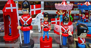 Fun, colorful toy soldier figurines on display at a souvenir shop in Denmark