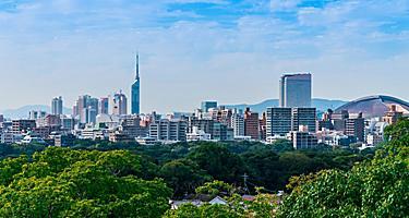 Views of the 768 foot Fukuoka Tower in Fukuoka, Japan