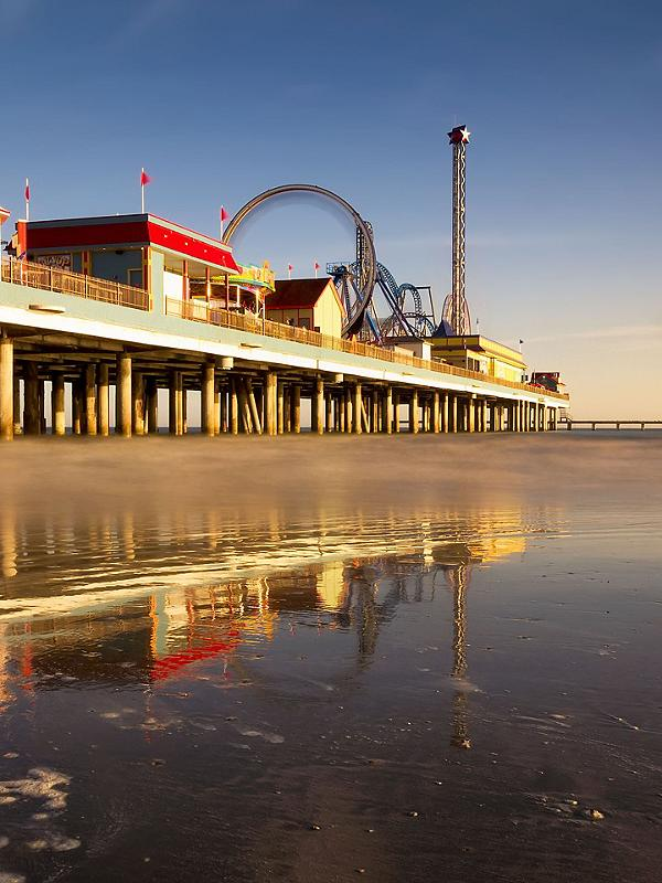 Sunrise at the Pleasure Pier in Galveston, Texas