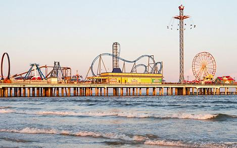 The Galveston Island Historic Pleasure Pier in Galveston, Texas
