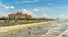 Sunny day at a beach in Galveston, Texas