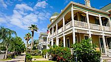 Victorian houses in wealthy neighborhood in Galveston, Texas