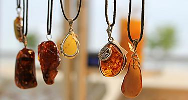 Various necklaces made with Amber in Gdansk, Poland