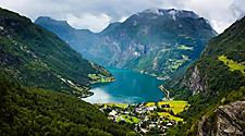 Aerial view of Geiranger, Norway and a fjord