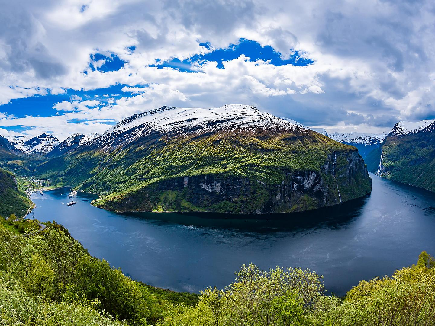 Geiranger, Norway, Snowcapped Fjord