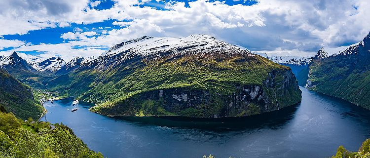 A snowcapped fjord in Geiranger, Norway