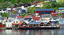 Waterfront buildings in Geiranger, Norway