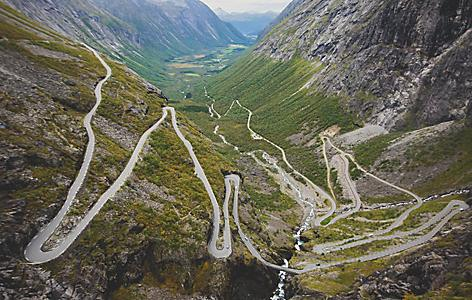 View of the winding Eagle Road in Norway