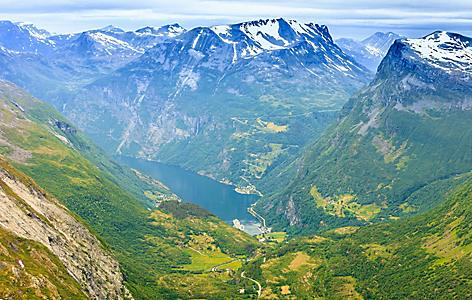 View of a fjord from Dalsnibba Mountain