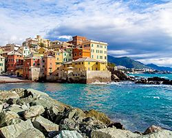 Coastal view of the Boccadasse district of Genoa, Italy