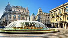 View of the De Ferrari Square and fountain in Genoa, Italy