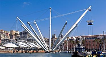 View of the Bigo Elevator in the Port of Genoa, Italy