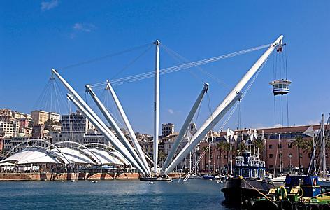 View of the Bigo Elevator in the Port of Genoa, Italy