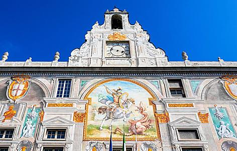 Close up of the décor of the Palace of St. George in Genoa, Italy