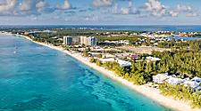 Aerial view of Seven Mile Beach in Grand Cayman