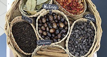 An assortment of spices including Nutmeg