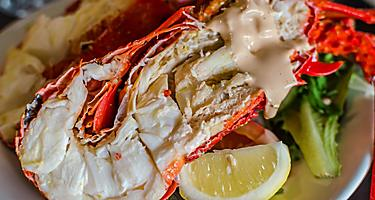 Boild rock lobster is local cuisine in Geraldton, Australia