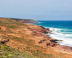 Indian ocean cliffs in Geraldton, Australia