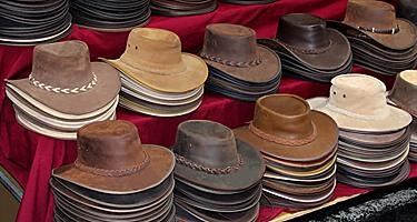 Australian leather hats made of kangaroo leather and cowhide