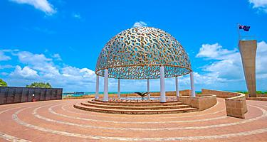 The dome of soul of the HMAS Sydney II Memorial in Geraldton, on hill in the middle of town, Western Australia
