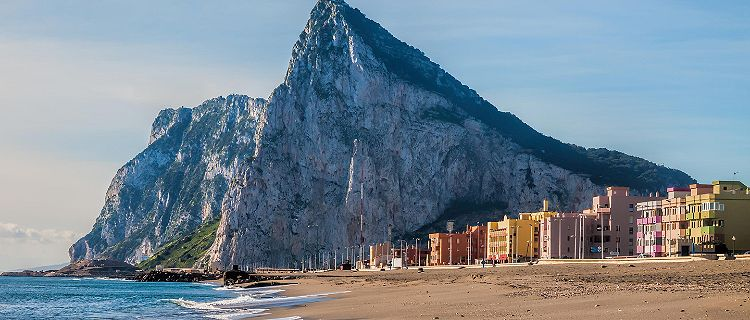 View of the Rock of Gibraltar from a beach