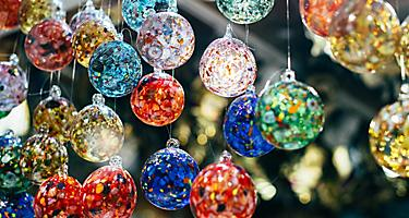 Assorted handmade glass ornaments