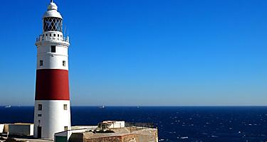 A red and white lighthouse in Gibraltar, United Kingdom