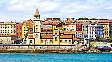 View of the San Pedro Church on the coast in Gijon, Spain,