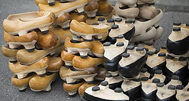 Assorted madrenas, a traditional wooden sandal in Gijon, Spain