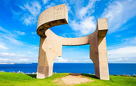 The Elogio al Horizonte, a famous monument in Gijon, Spain