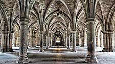 The historic cloisters at Glasgow University