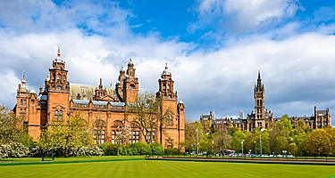 View of Kelvingrove Museum and Glasgow University in Glasgow, Scotland