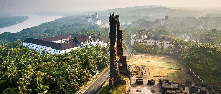 Drone view of Velha in Goa, India
