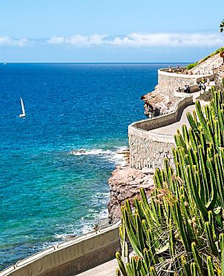 A coastal road and walkway in Gran Canaria, Canary Islands