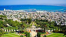 View from above of the Bahai Holy Places in Haifa and the Western Galilee