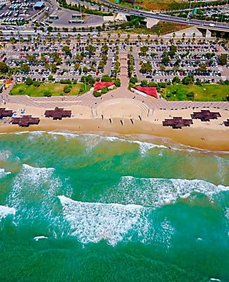 Aerial view of Haifa Beach in Israel