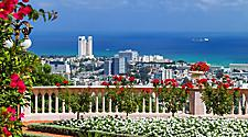 Panoramic view of Haifa, Israel from the Bahai Temple Garden