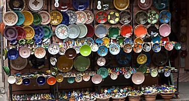 Ceramic plates and other souvenirs in the flea markets in Haifa, Israel
