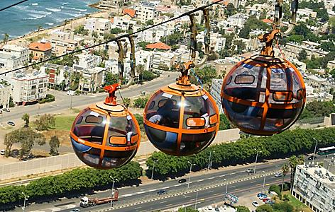 Three cable cars in Haifa, Israel
