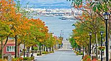 View of Hachimazaka, a hill slope leading to the port in Hakodate, Japan
