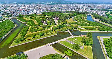 Aerial view of Goryokaku Park, a star shaped fort in Hakodate, Japan